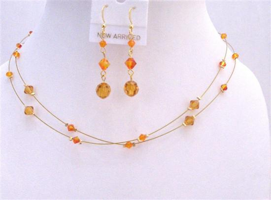 Golden Wire Round Necklace w/ Swarovski Topaz & Fire Opal Crystals Set