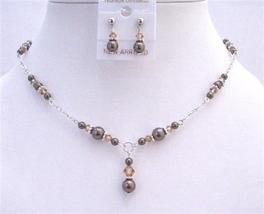 Brown Pearls Lite Smoked Topaz Jewelry Set Drop Down Necklace Set - $40.03