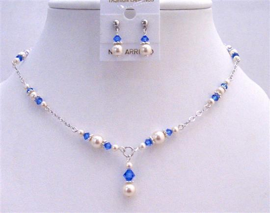 Swarovski Pearls Crystals White Pearls & Sapphire Crystal Necklace Set
