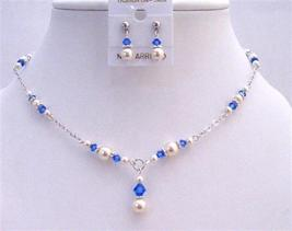 Swarovski Pearls Crystals White Pearls & Sapphire Crystal Necklace Set - $40.03