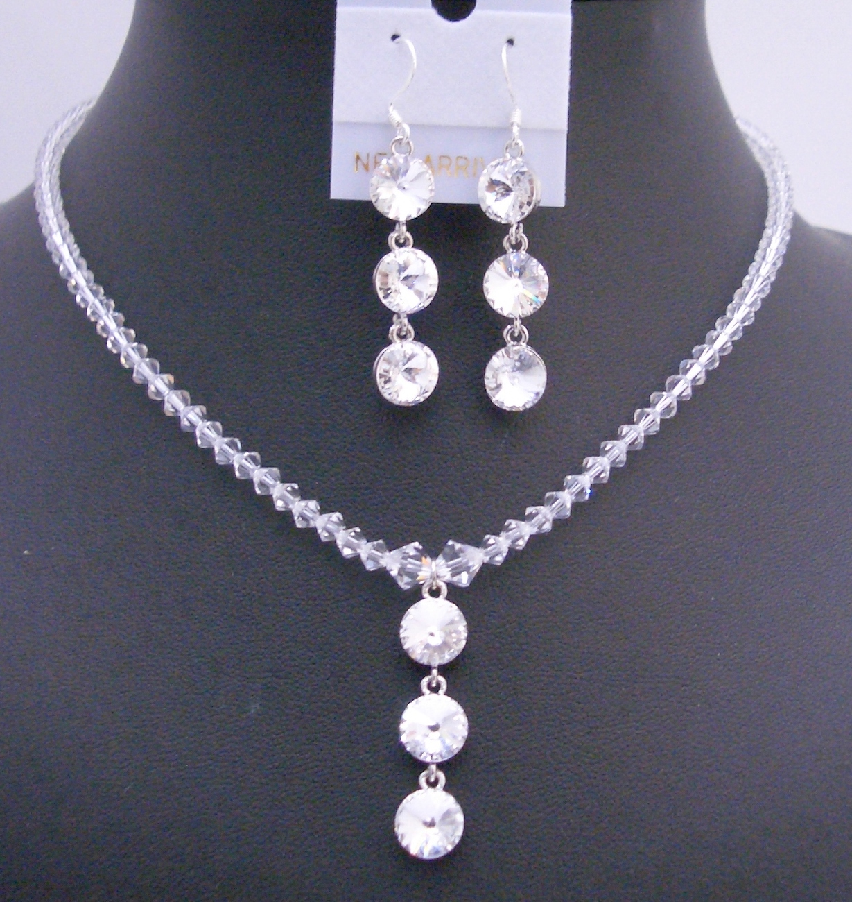 Drop Down Pendant Necklace Swarovski Clear Crystals Handmade Jewelry
