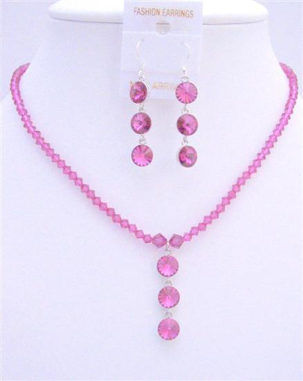 Fuchsia Swarovski Crystals Jewelry Drop Down Pendant Earrings Necklace