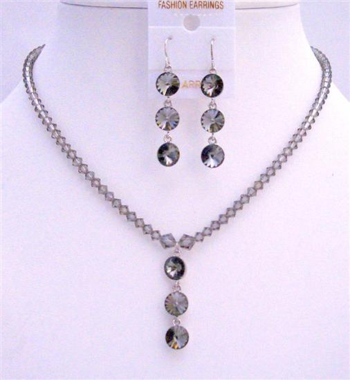 Black Diamond Swarovski Round Crystal 3 Beads Pendant Earring Necklace