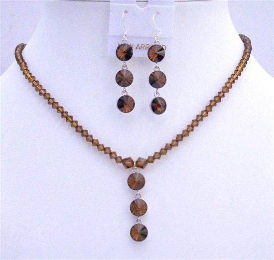 Swarovski Crystals Handmade Smoked Topaz Drop Down Custom Jewelry Set