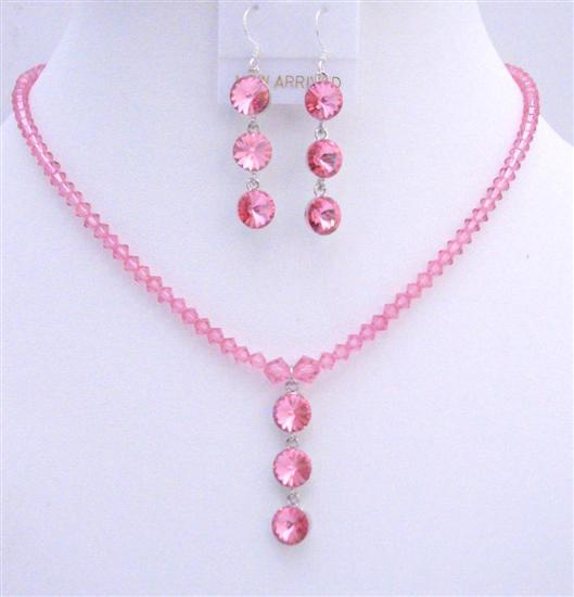 Swarovski Rose Pink Crystals Drop Down Pendant Handmade Necklace Set