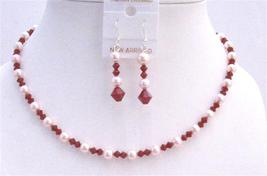 Coral Crystals Jewelry Set w/ Rose Pink Pearls Swarovski Necklace Set - $36.13