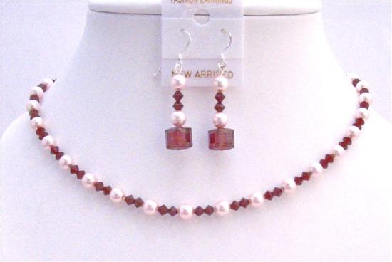 Primary image for Siam Red Swarovski Crystals w/ Rose Pink Pearls Necklace Set