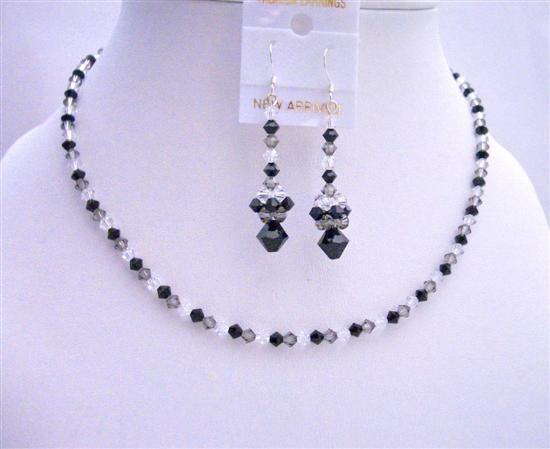 Swarovski Tri-Color Crystals Jet Black Diamond Clear Swarovski Jewelry