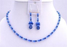Sapphire TriColor Dark & Lite Sapphire Crystals Swarovski Necklace Set - $41.33