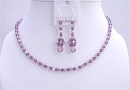 AB Amethyst Swarovski Crystals Necklace Set Amethyst Jewelry - $41.33
