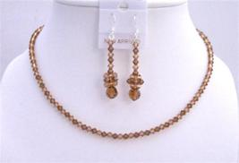 Lite & Dark Smoked Topaz Swarovski Crystals Necklace Set Jewelry Brown - $41.33