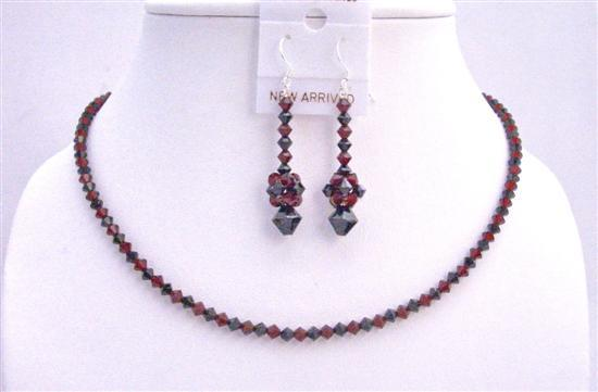 Swarovski Siam Red & Jet Black Swarovski Crystals Necklace Jewelry Set