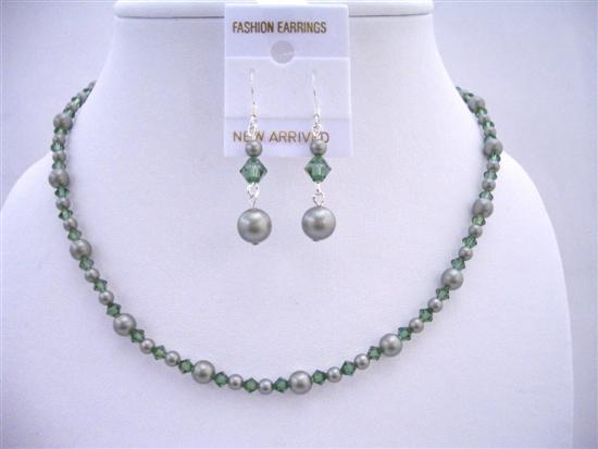 Primary image for Powder Green Pearls w/ Turmarine Swarovski Crystals Custom Jewelry Set