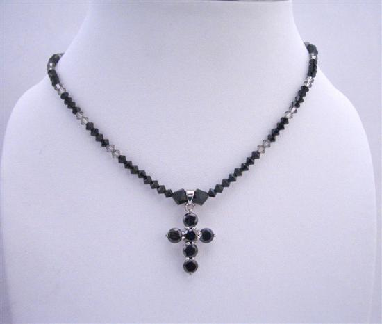 Primary image for Black Cross Pendant Swarovski Jet & Black Diamond Crystals Necklace