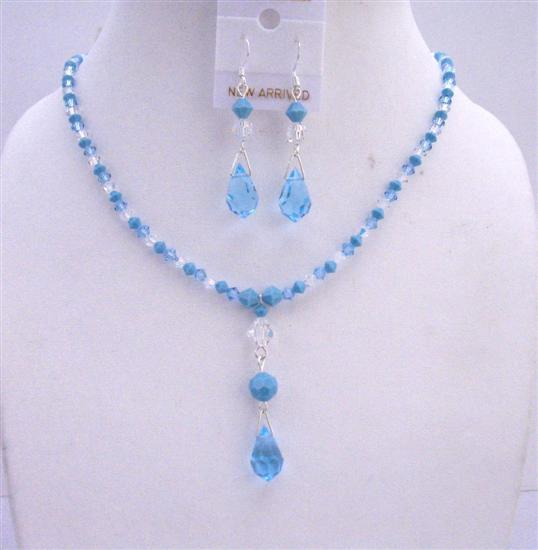 Swarovski Aquamarine Turquoise Clear Crystals Jewelry Set TriColor Set