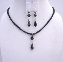 Black Crystals Jewelry Set Swarovski Jet Silver Earrings Necklace Set - $41.98