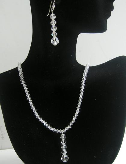 Clear Crystals Necklace & Earrings Swarovski Clear Silver Jewelry