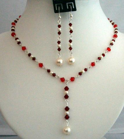 Primary image for Handcrafted Crystals Jewelry Siam Red w/ Cream Pearls Necklace Set Y