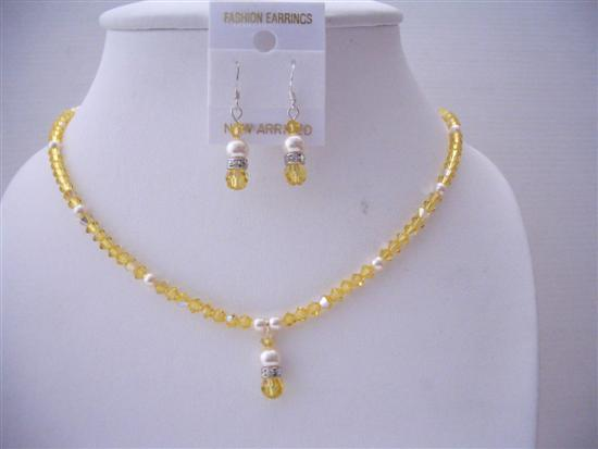 Swarovski Lite Topaz Crystals Ivory Pearls Jewelry Handmade Necklace
