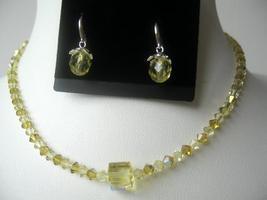 Swarovski Lime Jonquil Crystals Necklace Set Teardrop Earring - $38.75