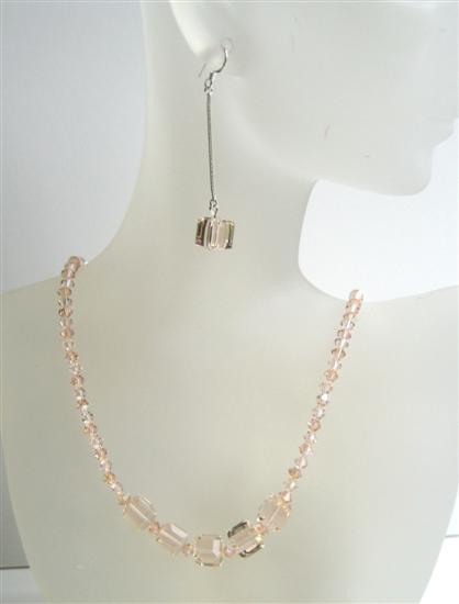 Peach Crystals Custom Handcrafted Jewelry w/ Cute Dangling Earrings