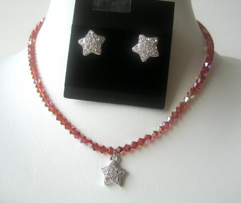 Fine Swarovski Crystals Indian Red AB Cute Star Pendants Necklace Set