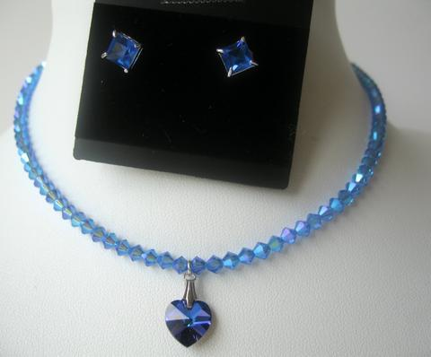 Primary image for Sapphire BICONE Swarovski Crystal Heart Cute Pendants Necklace