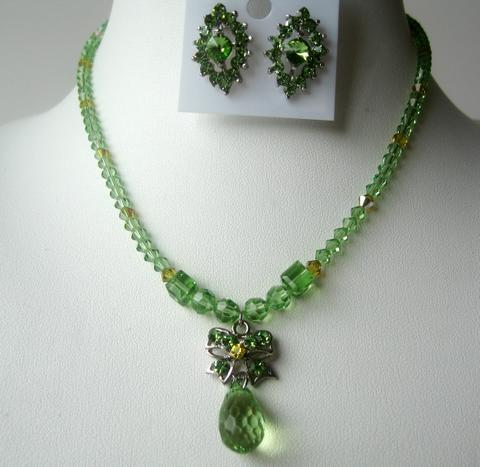 Evening Party Jewelry Peridot Crystals Necklace Set TearDrop Pendant