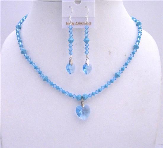 Primary image for Swarovski Aquamarine Turquoise Crystals Heart Pendant Earrings Jewelry