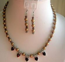 Golden Swarovski Pearls w/ Smoked Topaz Crystals Necklace Set Handmade - $54.98