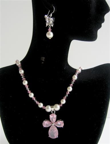 Swarovski Jewelry White Pearls & Lite Rose Crystals Necklace Sets