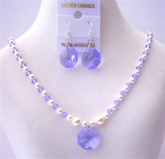 Primary image for Swarovski Lavender Crystals White Pearls Octagon Pendant Earrings Sets