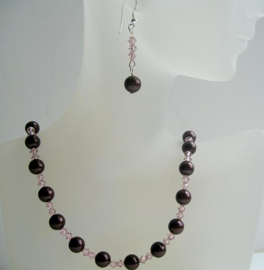 Primary image for Handmade Meroon Swarovski Pearls & Vintage Rose Crystals Necklace Set