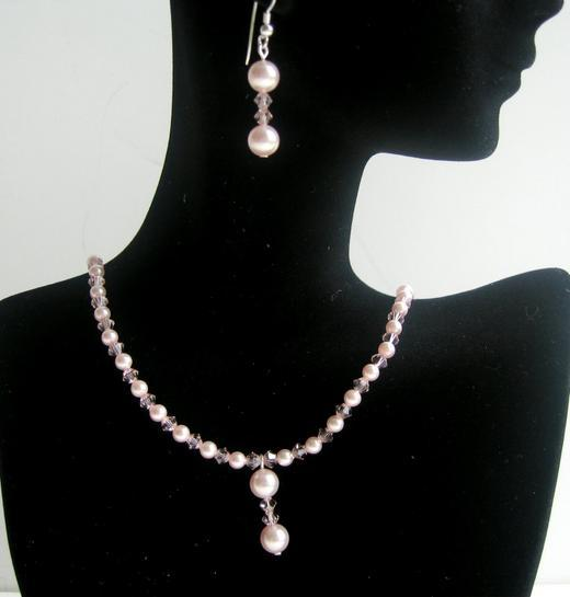 Primary image for Pink Pearls & Crystals Necklace & Earrings Swarovski Handmade Jewelry