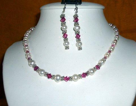 Primary image for Vintage Necklace White FreshWater Pearls & Swarovski Fuchsia Crystals