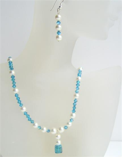 Swarovski Indicolite Crystal White Pearls Sterling Silver Earrings Set