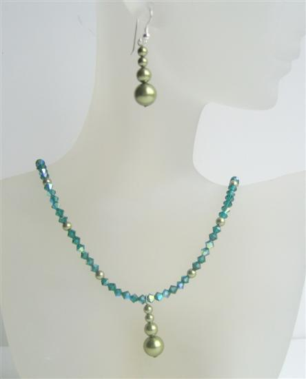 Primary image for Swarovski Emerald AB Crystals Necklace w/ Green Pearls Silver Earrings
