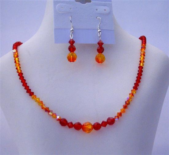 Swarovski Crystals Siam Red & Fire Opal Earrings Necklace Set