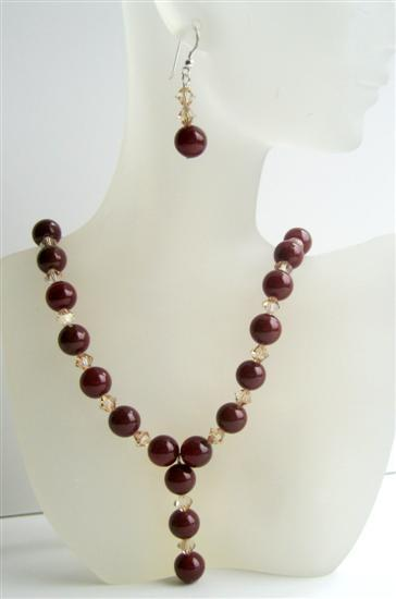 Primary image for Carnelian Beads Jewelry Swarovski Ceylon Crystals Necklace & Earrings