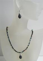 Black Swarovski Crystals Beaded Jewelry AB Jet Necklace Set Tear Drop - $38.73