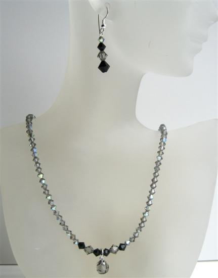 Primary image for AB Black Diamond Swarovski Crystal Jet Crystals Cute Drop Necklace Set