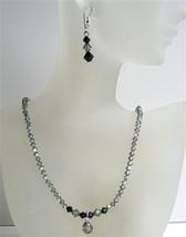 AB Black Diamond Swarovski Crystal Jet Crystals Cute Drop Necklace Set - $38.73