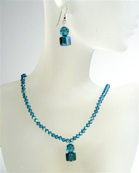 Indicolite AB Swarovski Crystals Handmade Jewelry Cute Necklace Set