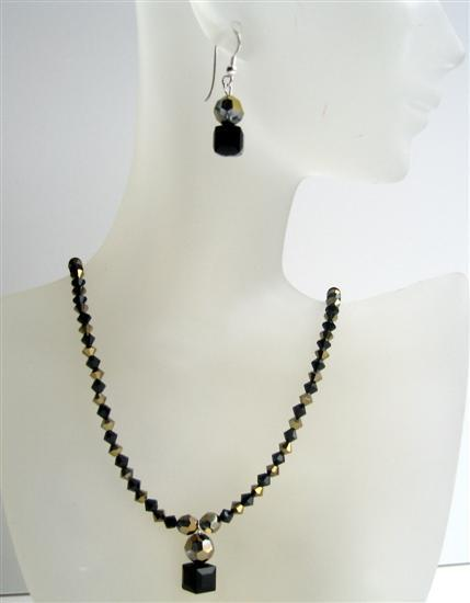 Dorado & Jet Swarovski Crystals Handmade Custom Jewelry Necklace Set