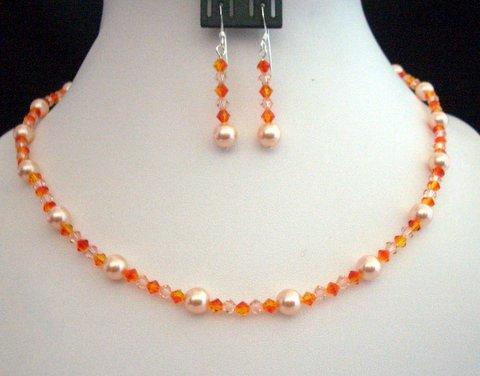 Swarovski Crystals & Pearls In Peach & Fire Opal Crystals Necklace Set