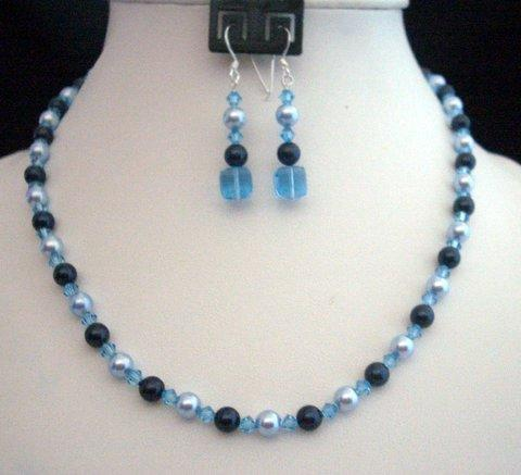 Swarovski Crystals Pearls Aquamarine Blue Handcrafted custom Set