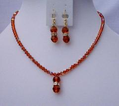 Fall Color Handmade Jewelry Swarovski AB Indian Red Crystals Pendant - $43.28