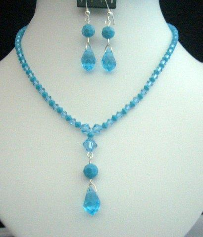 Handcrafted Necklace Swarovski Aquamarine & Turquoise Crystals