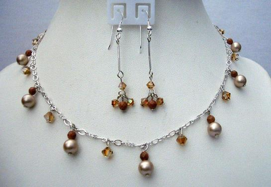 Primary image for Powder Almond Pearls Swarovski Smoked Topaz Satin Crystals Gold Beads