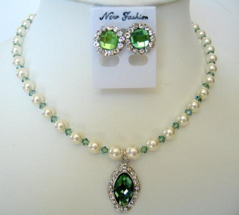 Primary image for Erinite Crystals White Pearls Necklace Set Swarovski Crystals Jewelry